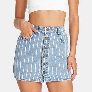 Billabong striped white denim skirt